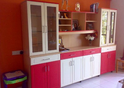 Crockery Cabinet with Red and Ivory combination