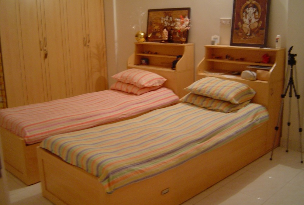 Single Cot with Drawers and Open Storage at back